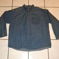 Dockers XXLarge Shirt Long Sleeve Button Front Blue Denim Jean Khaki collar