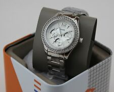 NEW AUTHENTIC FOSSIL STELLA SILVER CHRONOGRAPH GLITZ CRYSTALS WOMEN ES3588 WATCH