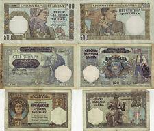 Lot 3 St. Jugoslawien Banknoten 50-100-500 Dinara 1941 Serbien Ro. 601-604-605b
