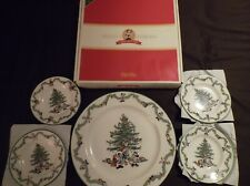 SPODE DISNEY CHRISTMAS TREE SET CANAPE & BUFFET SERVING PLATTER 4 PLATES NEW