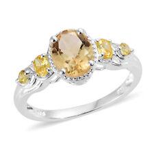 Brazilian Citrine, Simulated Yellow Diamond Sterling Silver Ring  TGW