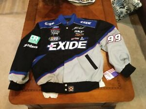 NASCAR Exide Racing UNIFORM JACKET USA made new/tag Large vintage Jeff Burton