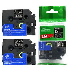 2/Pack 12mm White on Black Tape for P-touch Model PT1290, PT-1290 Label Maker