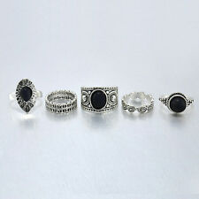 5 pcs Fashion Vintage Antique Girls Ring Sets Natural Black Stone Finger Rings