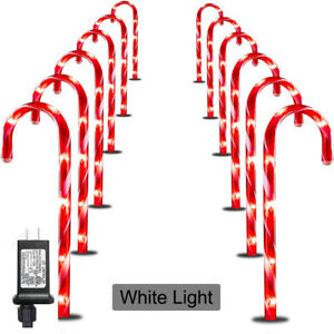 Christmas Candy Cane Pathway Marker Lights LED Yard Lawn Indoor Outdoor Decor