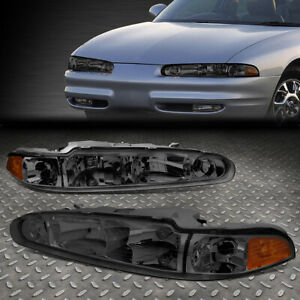 FOR 98-02 OLDSMOBILE INTRIGUE SMOKED HOUSING AMBER CORNER HEADLIGHT HEAD LAMPS