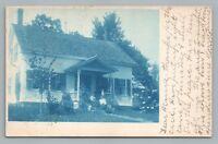 Cute Wooden House RPPC Cyanotype BRATTLEBORO Antique Photo UDB Postcard 1907