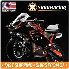 SkullRacing Gas Powered Mini Pocket Bike Motorcycle 50RR (Orange)
