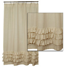 Country Primitive Cottage Cotton Flax Ruffled Shower Curtain