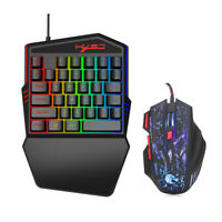 USB Wired Ergonomic Optical Gaming Mouse 35 Key Game Keyboard LED Illuminated