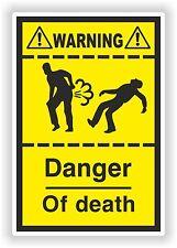 Danger of Death Fart Sticker Funny Warning Farting Bike Toilet Door Car Bedroom
