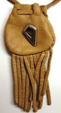"Tribal design medicine bag- buckskin draw (""arrow"") charm"
