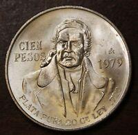 1977-1979 Mexico 100 Pesos Hidalgo .720 Silver .8 Ozt  AU-Uncirculated Coin