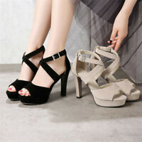 Women's Peep Toe Ankle High Heels Cross Strap Platform Dress Party Suede Shoes