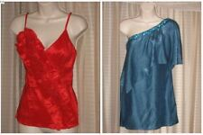 Lot of 2 FAISCA Size S NWOT Red & Blue Satin Party Solid Stylish Summer Blouses