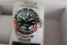 Vintage Seiko Sub GMT Mod 40mm Acrylic Crystal NH36 Automatic Watch Coke Red