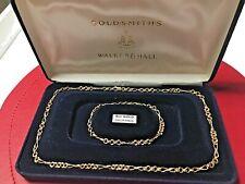 WALKER & HALL 9CT GOLD NECKLACE & MATCHING BRACELET SET CASED NEW