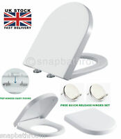 Luxury White D SHAPE Heavy Duty Soft Close Toilet Seat with TOP FIXING Hinges