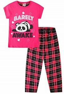 Cute Girls Barely Awake Panda Long Pyjamas Pink Check Pj 9-16 Years