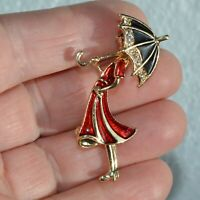 Art Deco Lady Brooch Girl Red Dress Crystal Vintage Style Gold Pin Broach / Gift