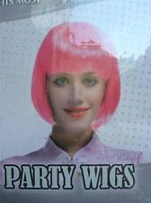 Neon Pink Short Hair Wig Fancy Dress Halloween Hen Party Disco 80s Women Adults