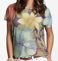 Go Couture Women's Knit Top Beige Blue Size Medium M Floral Printed $98 #014
