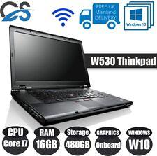 "WINDOWS 10 PRO Lenovo ThinkPad W530 15.6"" LAPTOP CORE Intel i7 16GB 480GB HDD"