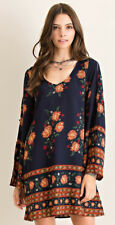 ENTRO Navy Floral Long Slit Button Sleeve Mid Thigh Lined Scoop Neck Shift Dress
