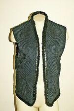 Maison Scotch SZ1 Cotton Quiled Vest Fringe Faux Leather Trim Navy NWOT!