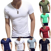 Short Sleeve T-Shirt Men V-Neck Gym Sports Slim Fit Tee Tops Casual Summer