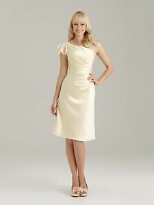 Allure 1331 Banana Yellow Size 10 Formal,Bridesmaids Dress Reg $169 Satin NWT