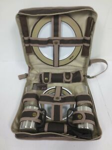 Concept International Picnic Bag for 2 Beige Brown Mugs Cups Plates Napkins Z5