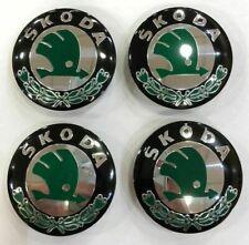 4x SKOD WHEEL CENTRE CAPS 56MM BLACK & GREEN HUB EMBLEM- FABIA OCTAVIA YETI VRS