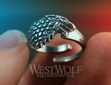 Game of Thrones Direwolf Ring of House Stark - 925 Silver Plated - Size 6/7/8/9