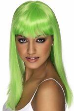 Womens Long Neon Green Wig Straight Hair Bangs Fancy Dress Adult Halloween NEW
