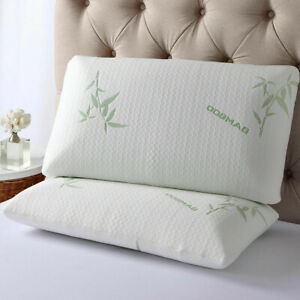 2 x Memory Foam Bamboo Pillow Orthopedic Shredded Pillow
