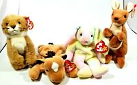 TY Beanie Babies Lot of 4, Manes, Hippie, Pouch and Derby
