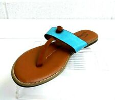Seven 7 Womens 9 Teal Brown Summer Slippers Casual Flat Shoe