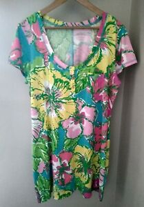 Lilly Pulitzer Britton Dress Shorely Big Flirt XL V-Neck S/S Cotton Pink Green