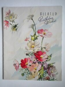 """VINTAGE EMBOSSED FRENCH-FOLD """"BELATED BIRTHDAY WISHES"""" GREETING CARD + ENVELOPE"""