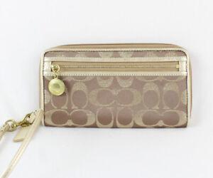 Coach NWOT Beige Gold Metallic Shimmer Logo Print Wallet Wristlet