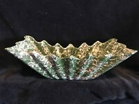 Vintage Shawnee Pottery Green/White Spatter Pattern Planter with Ruffled Rim