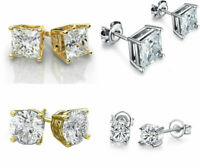 Stud Earrings Cz Silver Round Gold Sterling Cut Cubic Zirconia 925 Clear CZ Stud