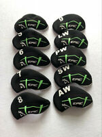 10PCS Golf Iron Headcovers for Callaway EPIC Club Covers Caps Black&Black 4-LW