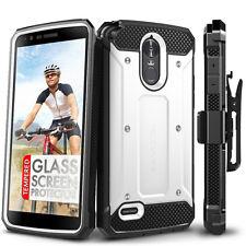 LG Stylo 3 Case and Glass Screen Protector - Evocel Full Body Case & Holster