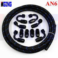 AN6 -6AN Stainless Steel Nylon Braided Oil Fuel Gas Line+Hose End Fitting 3M