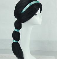 Adult Aladdin Princess Jasmine Cosplay Black Wig w/Ribbon for Halloween Costume