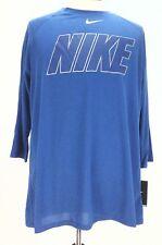 Nike Dri-fit 777825 Mens Baseball Raglan 3/4 Sleeves Blue Silver Large L