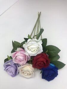 5 Bunch Velvet Roses & Rose Buds, Artificial Luxury Silk Flowers