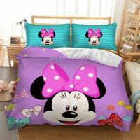 Minnie Mouse Duvet Cover Set Twin/Full/Queen/King Size Bedding Set Purple